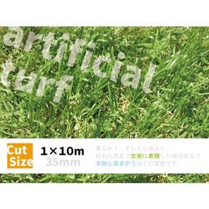 人工芝 ロール 1m×10m 〔35mm〕 ■今だけ芝ピンおまけつき!■  リアル 高級 高密度 芝 ガーデン ガーデンターフ 57224|gardenmate