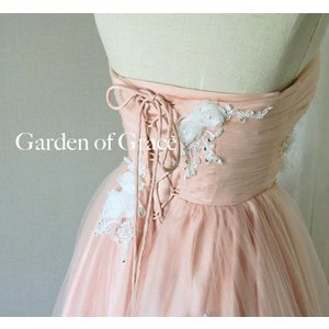 f4bf7998ec60f ... ウエディングドレス 二次会 Aライン ウェディングドレス エンパイアドレス マーガレットメリルAドレスピンク|gardenofgrace