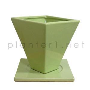スクエアー・ライム 16cm (受け皿付き) (FO2-15610LI-YL)|gardens