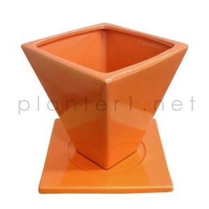 スクエアー・オレンジ 16cm (受け皿付き) (FO2-1561OR-YL)|gardens