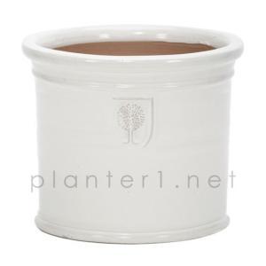 イギリスRHS・プレミアム釉薬鉢・ミルズ 29cm (ホワイト) (SS-SPK-RH02M-WT)|gardens