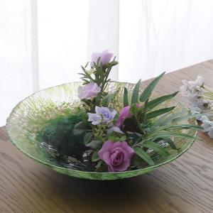 生け花 花器 水盤 深緑の入り口 ガラス  高級 おしゃれ 日本製 大きな フラワーベース