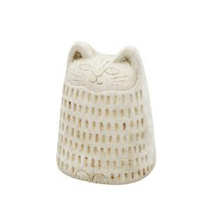 オブジェ 猫 キャット 飾り アフリカン猫 民族模様 ずんぐり置物 アイボリー|gardenyouhin