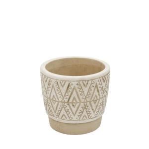 プランター 小型 アフリカン 植木鉢 底穴あり 小さい 鉢 民族模様A 手作りプランターポット S ホワイト 直径11cm|gardenyouhin