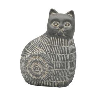 民族 オブジェ アフリカンキャット うずまき ブラック S  置物 猫 ネコ ガーデニング 雑貨 おしゃれ かわいい エジプト アジアン エスニック|gardenyouhin