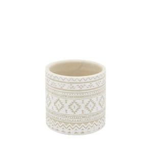 民族 紋様 デザイン プランター S ホワイト  おしゃれ 鉢 小さい 底穴あり アンティーク|gardenyouhin