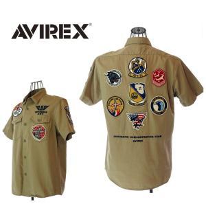 AVIREX  アビレックス  6165104   AAF TEAM PATCH SHIRT   チーム ワッペン 半袖シャツ  53 カーキ|garo1959