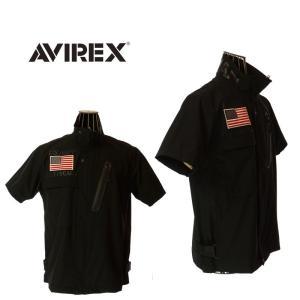 AVIREX アビレックス 6195096 STRETCH ZIP SHIRT FROGMAN ストレッチジップシャツ フロッグマン 09 BLACK garo1959