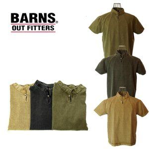 BARNS バーンズ BR-7901 PIGMENT HIGHNECK CONCHO TEE ピグメントハイネックコンチョTシャツ 47 OLIVE/31 BEIGE/18 CHARCOAL|garo1959