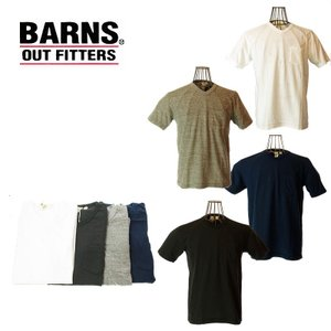 BARNS バーンズ BR-1101 TURI-AMI V NECK TEE 吊り編みVネックTシャツ 10 WHITE/27 BLUE NAVY/19 BLACK/15 GRAY|garo1959