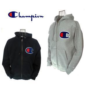 Champion チャンピオン ビッグロゴ スウェットジップパーカー C3-E128 アクションスタイル 070 オックスフォードグレイ 090 ブラック|garo1959