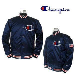 champion チャンピオン ベースボールジャケット ビッグロゴ  アクションスタイル  C3-G612 370 ネイビー|garo1959