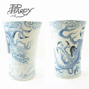 EdHardy (エドハーディー) Large Dragon vase (染付 波雲龍文 広口花入)有田焼|garo1959