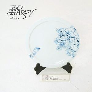 EdHardy (エドハーディー)Original Tiger plate 染付 古来虎文 皿 有田焼|garo1959