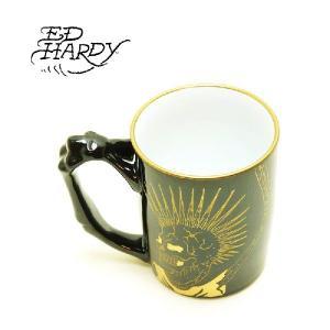 Ed Hardy(エド・ハーディ)マグカップ(有田焼)スモーク&ハンドマグブラック|garo1959