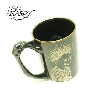 Ed Hardy(エド・ハーディ)マグカップ(有田焼) チェッカーズ マグ・シルバー|garo1959