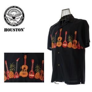 HOUSTON  ヒューストン 40313  ALOHA SHIRT GUITER   アロハシャツ ギター  BK  ブラック パイナップル|garo1959