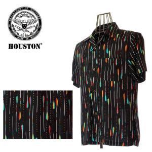 HOUSTON  ヒューストン 40426  ALOHA SHORT アロー柄  アロハシャツ BK ブラック 矢|garo1959