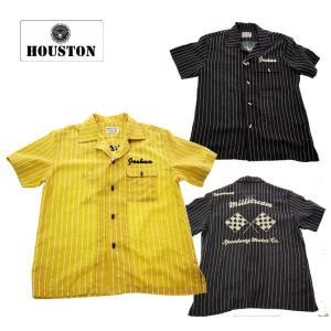 HOUSTON  ヒューストン 40523 STRIPE BOYRING SHRT ストライプボウリングシャツ マスタード/ブラック|garo1959