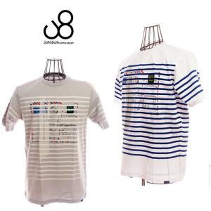 johnbull ジョンブル AIR MAIL TEE 25134 1 ホワイト/34 ライトグレー メンズTシャツ|garo1959