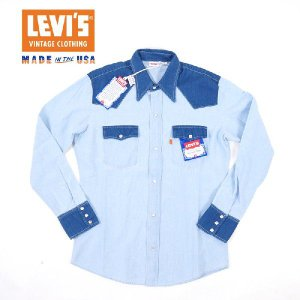 LEVIS VINTAGE CLOTHING 1970s ソートゥースデニムシャツ/MADE IN THE USA 【ORANGE TAB】|garo1959