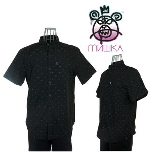 MISHKA(ミシカ)LULZ SHORT SLEEVE BUTTON UP SP141404B BLACK|garo1959