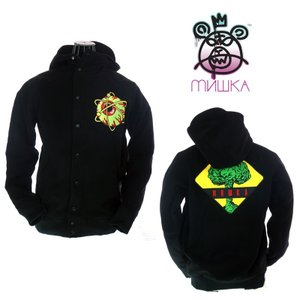 MISHKA ミシカ Atomic Keep Watch Hooded Varsity Lacket FL151303M Black スタジアムジャケット|garo1959