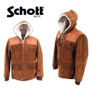 【Schott】カウスプリット・フリンジ・パーカジャケット   3191025-55     55 BROWN×NATURAL|garo1959
