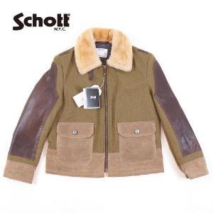 "【Schott】(ショット) ""Bomber sheepskin leather flight jacket"" P797S ANJ4 OLIVE ボンバーシープスキンフライトジャケット|garo1959"