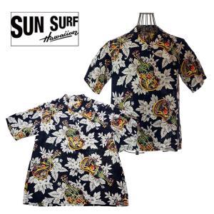 SUN SURF サンサーフ SS38029 UKULELE MELODY  ウクレレメロディ 128NVY ハワイアンシャツ アロハシャツ|garo1959