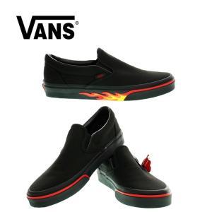 VANS  バンズ  Classic Slip-on  FLAME WALL  クラシックスリッポン フレームオール  VN0A38F7Q8Q   BLACK/BLACK|garo1959