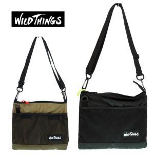 WILD THINGS  ワイルドシングス   SACOCHE CHOULDER  サコッシュショルダー  WT-380-0062  52 KHAKI/01 BLACK|garo1959