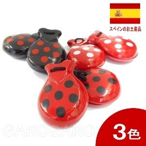 水玉のカスタネット フリーサイズ 木製 [フラメンコ用]|garogaro