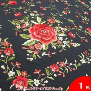 マントン (正方形 | 大判) 花の刺繍 Agata (アガタ) (手刺繍) 生地とフレコ:黒 刺繍:多色 [フラメンコ用]|garogaro