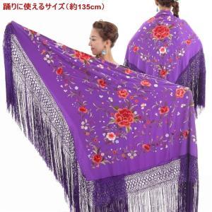 マントン (正方形 | 大判) 花の刺繍 Genesis[ヘネシス]  [手刺繍] 生地・フレコ:紫 刺繍:多色 [フラメンコ用]|garogaro