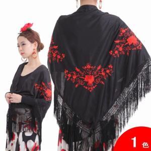 [大判] 刺繍のシージョ Marisol (マリソル) 生地とフレコ:黒 刺繍:赤 [フラメンコ用]|garogaro