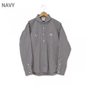 MACOBER インディゴギンガムプルオーバーワークシャツ NAVY|garretstore