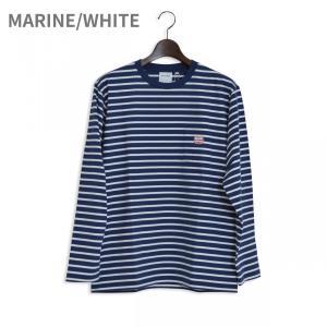 MACOBER ボーダーポケット長袖Tシャツ MARINE/WHITE|garretstore