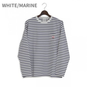 MACOBER ボーダーポケット長袖Tシャツ WHITE/MARINE|garretstore