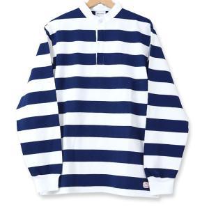 MACOBER バンドカラーラグビーシャツ NAVY|garretstore
