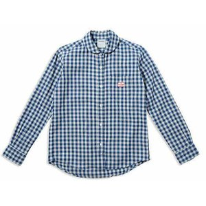 MACOBER インディゴ丸襟 長袖ワークシャツ BLUE-GGM|garretstore