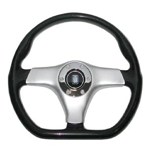 NARDI ガラ・スポーツ カーボンルック・シルバーパッド・クロームリング付 350mm|garudaonlinestore