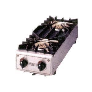*山岡金属*SK-55G 業務用ガステーブル・コンロ スペースガッツ 2口タイプ