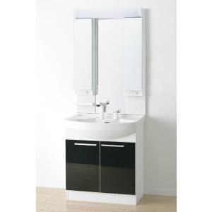 *アサヒ衛陶*LK3711KU[B/W]+M733LH 洗面化粧台上下セット ワイド3面鏡 Kシリー...