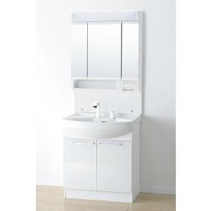 *アサヒ衛陶*LK3711KU[B/W]+M753TSLH 洗面化粧台上下セット フラット3面鏡 K...