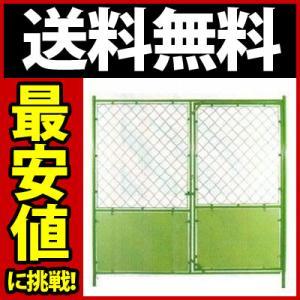 送料無料)扉付フェンス 無地 緑 W1800*H1800 gate