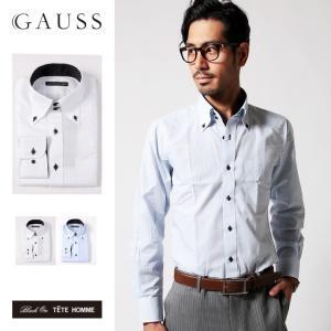 シャツ メンズ 結婚式 二次会 スーツ Black on TETE HOMME デュエボットーニ カラー ボタンダウン ワイシャツ 長袖 パーティー ブランド|gauss