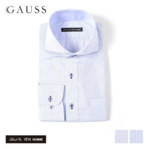 メンズ シャツ 結婚式 二次会 スーツ Black on TETE HOMME ホリゾンタルカラー ストライプ シャツ 長袖 ワイシャツ カジュアルシャツ パーティー ブランド|gauss