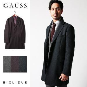 チェスターコート メンズ スーツ 用 コート / アウター 結婚式 二次会 BIGLIDUE 小紋柄 ウール 混 パーティー ブランド|gauss