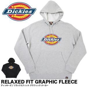 Dickies ディッキーズ パーカー ロゴ プリント 長袖 リラックスフィット グラフィック フリース メンズ TW45A|gb-int